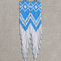 White and Turquoise Blue Earrings. Native American Beaded Earrings Inspired. Extra Long Earrings. Extra. Shoulder Dusters. Beadwork.