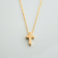 Gold cross, tiny, 14kt gold fill, necklace - TINY GOLD CROSS