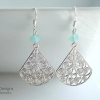 Silver fan filigree, aquamarine rondelles, earrings - DEBBIE