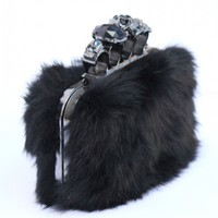 Skull Knuckle Duster Fuzzy Clutch - Black