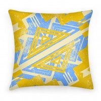 Aztec Pillow Yellow Ochre and Blue