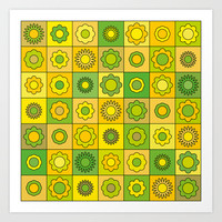 Yellow Green Flower Pattern Art Print by Hippy Gift Shop