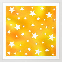 Yellow and White Star Pattern Art Print by Hippy Gift Shop