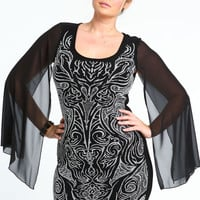 PLUS SIZE BEADED DAMASK CHIFFON SLEEVE DRESS