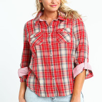 PLUS SIZE STARRY PLAID SHIRT