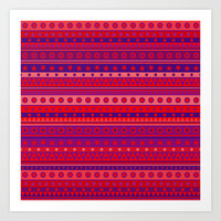 Red Purple and Pink Stripy Pattern Art Print by Hippy Gift Shop