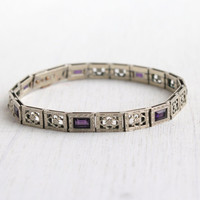Antique Art Deco White Gold Filled Purple Bracelet - Vintage 1920s Floral Filigree Bridal Panel Jewelry / Simmons