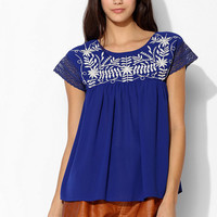 Hazel Embroidered Babydoll Top - Urban Outfitters