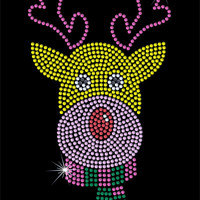 Christmas Rhinestone Transfer - Rudolph - DIY Iron On Rhinestone Christmas Transfer