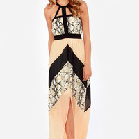 Snake the Rules Peach and Black Maxi Dress