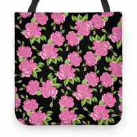 Black and Pink Floral Pattern (pillow)