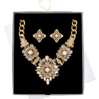 Limited Gold Flower Necklace and Stud Earrings Set