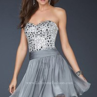 Mirrored Bead Bodice Dress By La Femme