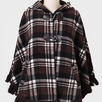 Pretty In Plaid Hooded Cape