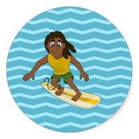 Surfing guy cartoon sticker