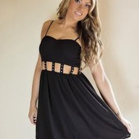 Black Studded Cutout Waist Sleeveless Dress