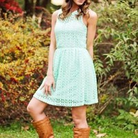 Mint Lace Open Back Sleeveless Dress