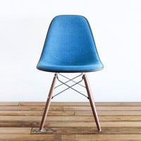Classic Eames DSW - RARE - Marine Blue Pin-Check Tweed Hopsack on Walnut Dowel Base Side Chair
