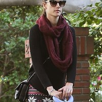 Paula Bianco Infinity Scarf in Bordeaux as seen on Alessandra Ambrosio