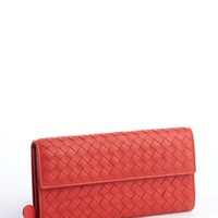 Red Intrecciato Leather Snap Continental Wallet