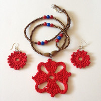 The Four Winds Ruby Crochet Necklace Set