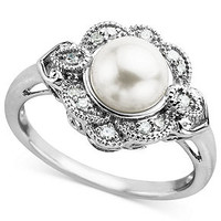 Sterling Silver Ring, Cultured Freshwater Pearl and Diamond Sunburst Ring (1/5 ct. t.w.)