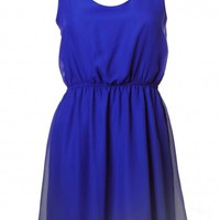 Blue Bow Back Sleeveless Skater Dress