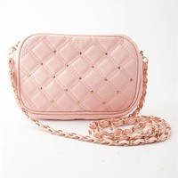 Stitch of Style Studded Quilted Cross Body Handbag - Blush