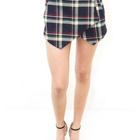 West Coast Wardrobe Chase Plaid Skort In Navy