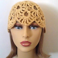 Golden Yellow Cloche Hat, Womens Crochet Hat