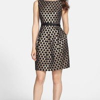Eliza J Dot Jacquard Fit & Flare Dress (Regular & Petite) | Nordstrom
