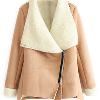 ROMWE | ROMWE Oblique Zippered Asymmetric Khaki Coat, The Latest Street Fashion