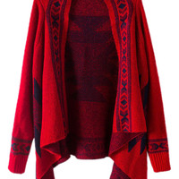 ROMWE | ROMWE Geometric Knitted Buttonless Red Cardigan, The Latest Street Fashion