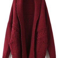 ROMWE | ROMWE Twisted Buttonless Burgundy Cardigan, The Latest Street Fashion