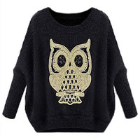ROMWE | ROMWE Owl Knitted Batwing Sleeves Black Jumper, The Latest Street Fashion