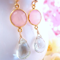 Pink chalcedony bezel green amethyst dangle earrings