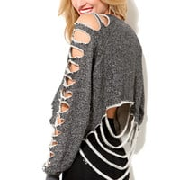 Shredded Cropped Sweatshirt in Charcoal