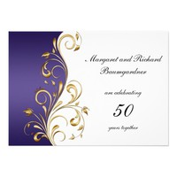 Vintage Gold Purple 50th Wedding Anniversary