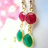 Christmas red ruby and green onyx bezel gold dangle earrings
