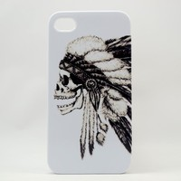 3d Iphone 4 Case, Iphone 4 Cover --Hipster Indian Skull Iphone 4 Cases