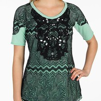 BKE Boutique Lace Overlay Top