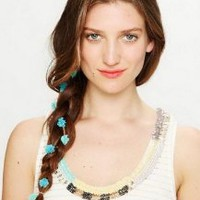 New Fashion Blue Flower Braid Decorate Headband String Hair Band Accessories