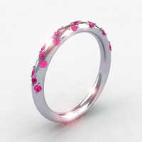 French Bridal 14K White Gold Pink Sapphire Wedding Band R185B-14KWGPS