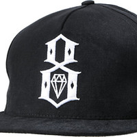 REBEL8 Brim Logo Black Snapback Hat