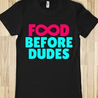 FOOD BEFORE DUDES INFINITY LADIES FITTED T-SHIRT (PINK CYAN ART 12137)