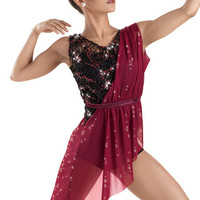 Sequin Draped Overdress Biketard -Weissman Costume