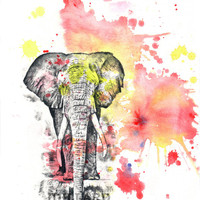 Elephant Art Animal Watercolor Painting 8 X 10 in print Great Children Kids Baby Nursery Room Decor Nursery Art