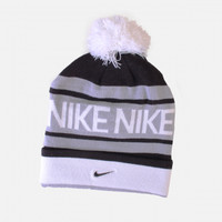 NIKE POM BEANIE (GREY/BLACK-WHITE)