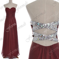 Strapless Sweetheart Long Chiffon Burgundy Prom Dresses, Long Evening Gown, Wedding party Dresses, Formal Gown, Bridesmaid Dresses
