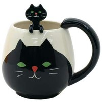 CAT DECOLE Manmaru Mug Cup & Spoon
